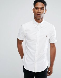 Read more about Polo ralph lauren slim fit oxford shirt short sleeve in white - white
