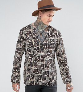 Read more about Reclaimed vintage inspired shirt with lacing in reg fit - brown