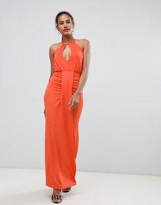 Read more about Missguided halterneck ruched front dress - orange