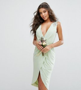 Read more about Tfnc wedding wrap midi dress with embellishment - green