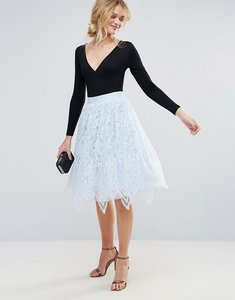 Read more about Chi chi london midi lace skirt - blue
