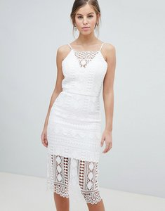 Read more about Chi chi london lace midi dress with v back - white