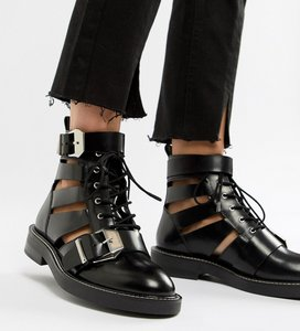Read more about Asos design premium archer leather cut out ankle boots - black leather