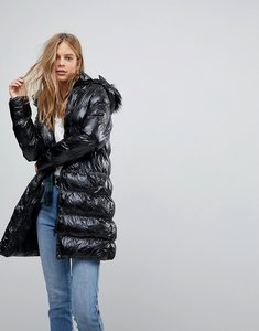 Read more about Brave soul monroe high shine long padded coat with detachable hood - black