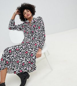 Read more about Lily lionel exclusive rose leopard ruffle midi dress - rose leopard