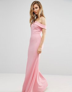 Read more about Club l bridesmaid off shoulder fishtail maxi dress - pale pink