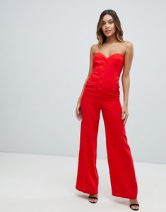 Read more about Asos design bandeau sweetheart jumpsuit with button buckle detail - red