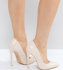 Read more about Lost ink wide fit abby heeled court shoes - nude