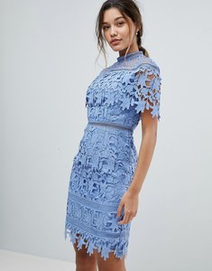 Read more about Chi chi london lace high neck pencil midi dress - perry blue