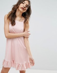 Read more about Nobody s child sleeveless dress with frill hem in satin - blush
