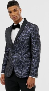 Read more about Moss london skinny blazer in feather jacquard - blue