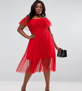 Read more about Asos curve tulle layered midi dress - red