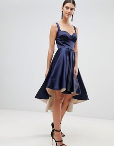 Read more about Forever unique satin hi-low dress - navy light pink