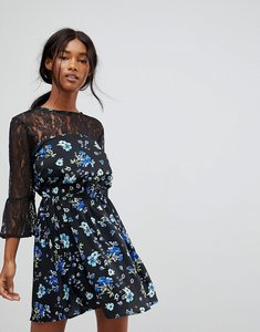 Read more about Influence lace yoke and sleeve floral skater dress - black floral