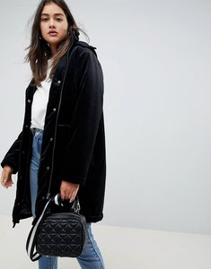 Read more about Asos design velvet parka - black