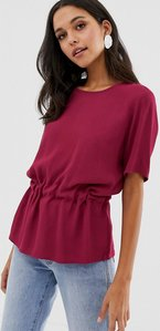 Read more about Selected femme gathered waist blouse - red