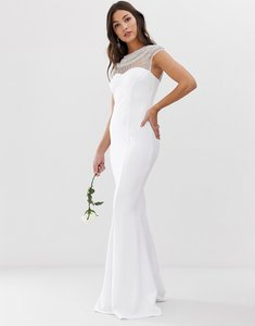 Read more about City goddess bridal capped sleeve fishtail maxi dress with embellished detail