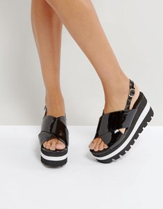 Read more about Qupid layered flatform sandal - black patent