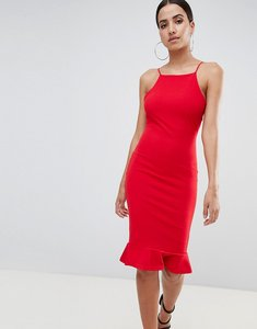 Read more about Missguided high neck frill hem midi dress - red