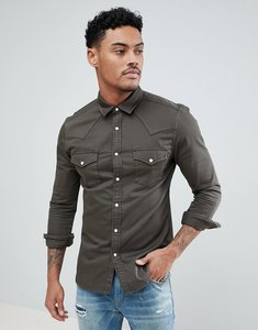 Read more about Asos skinny denim western shirt in khaki - green