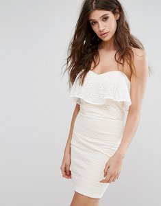 Read more about Miss selfridge lace bandeau mini dress - white