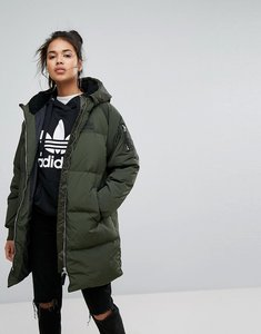 Read more about Adidas originals long bomber jacket in khaki - green