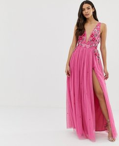 Read more about Dolly delicious 3d applique embellished plunge front maxi dress with thigh split in pink