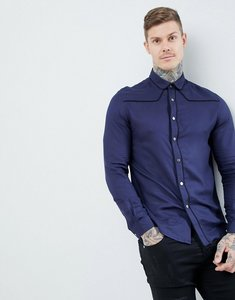 Read more about Asos design regular fit western viscose shirt in navy with poppers - navy