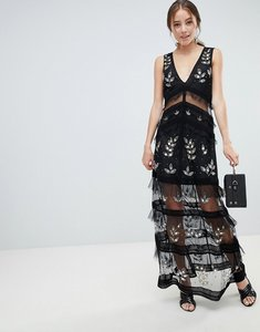 Read more about Miss selfridge tiered maxi dress with lace detail in black - black