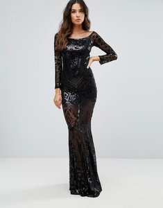 Read more about Club l bardot patterned detail sequin maxi dress - black
