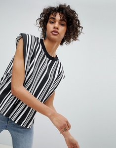 Read more about Cheap monday shoulder pad stripe top - whi