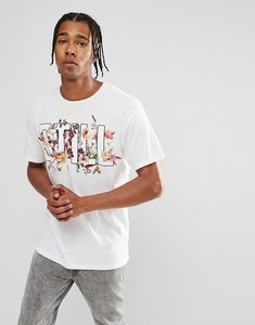 Read more about Bershka t-shirt with still floral print in white - white
