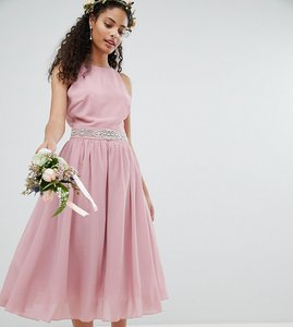 Read more about Tfnc embellished midi bridesmaid dress with full prom skirt - vintage rose
