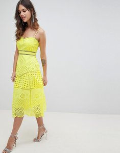 Read more about Asos design premium lace broderie prom midi dress - yellow