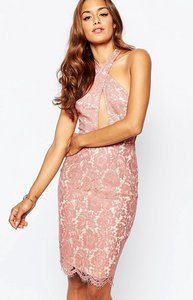 Read more about Missguided lace halter midi dress - rose