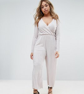 Read more about Asos curve plisse jumpsuit with wrap front and long sleeve - mink