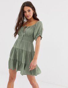 Read more about Asos design tiered mini skater dress with shirred waist