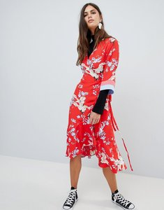 Read more about Y a s printed kimono wrap dress - multi