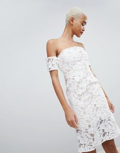 Read more about Prettylittlething lace bardot midi dress - white