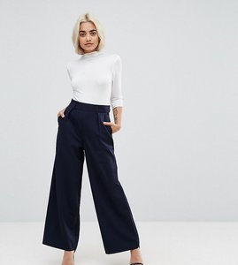Read more about Asos petite the wide leg trouser with pleat detail - navy