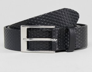 Read more about Asos smart slim belt in black perforated leather - black