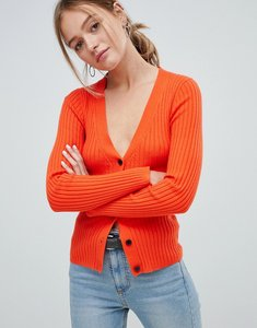 Read more about Asos design cardigan in fine knit rib with buttons - tomato