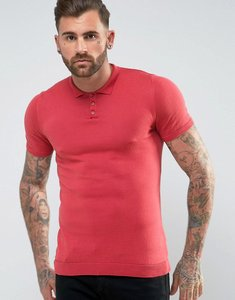 Read more about Asos knitted muscle fit polo shirt in rose pink - pink