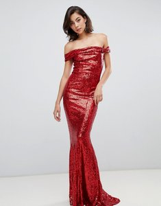 Read more about City goddess bardot sequin maxi dress with bow detail - red