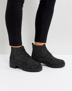 Read more about Truffle collection lace up low ankle boot - black velvet silver
