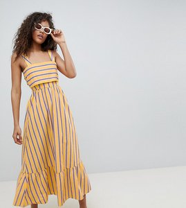 Read more about Asos design tall stripe maxi dress with pephem - multi