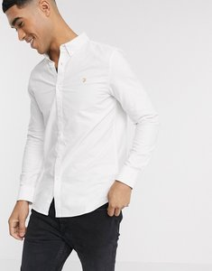 Read more about Farah brewer slim fit oxford shirt in white - white