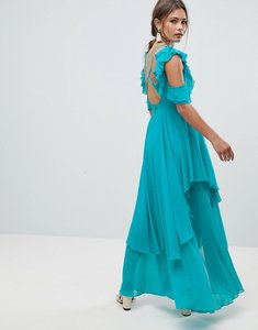 Read more about Asos ruffle sleeve dip back maxi dress with open back - turquoise