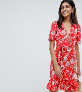 Read more about Parisian tall floral print wrap midi dress - red