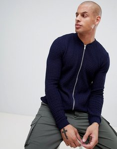 Read more about Asos design knitted muscle fit bomber jacket in navy - navy